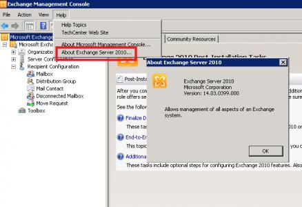 Exchange Server 2010 Versiyonunu Bulma